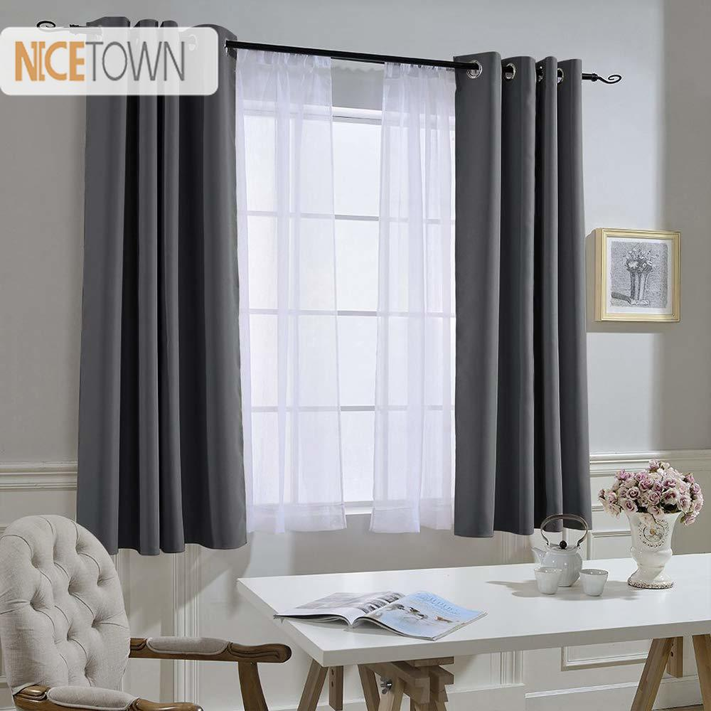 Darkening Curtains Draperies House Eyelets Noise-Reducing Black Thermal-Insulated 1-Panel
