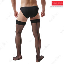 Black Nylon Stocking For Man Sexy Thigh Muscle Stay Up Sheer Tights High Hold-Ups  Mesh Pantyhose