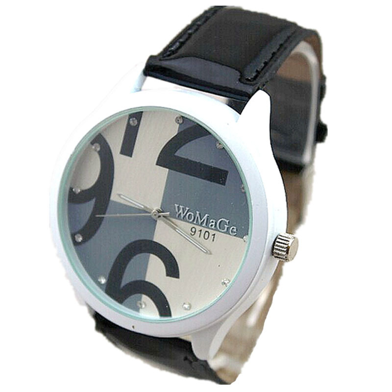 b0fb4ee71eb hot typical crystal number white steel case 5 colors leather band  wristwatch quartz movement womage brand women fashion watch