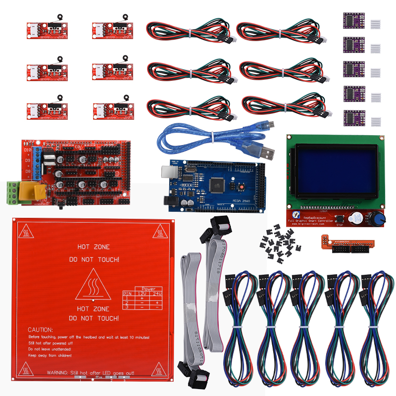 все цены на Reprap Ramps 1.4 + Mega 2560 + Heatbed mk2b + 12864 LCD Controller + DRV8825 + Mechanical Endstop+ Cables For 3D Printer diy kit онлайн