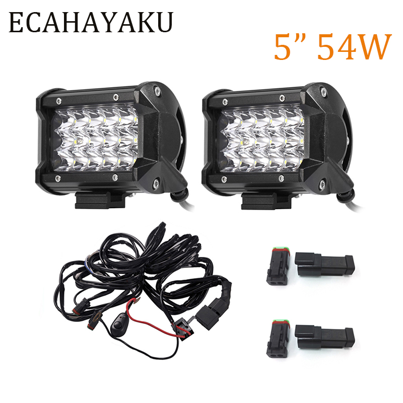 ECAHAYAKU 2PCS Offroad 5INCH TRIPLE ROWS 54W LED WORK LIGHT BAR FLOOD BAR LIGHT 6000K 5400LM FOR 12V 24V CAR TRUCKS SUV BOAT ATV