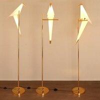 2018 современные птица абажур Золотой Базовая Напольная Лампа Свет светодио дный с светодиодные лампы Металл Lambader для гостиная стенд настоль