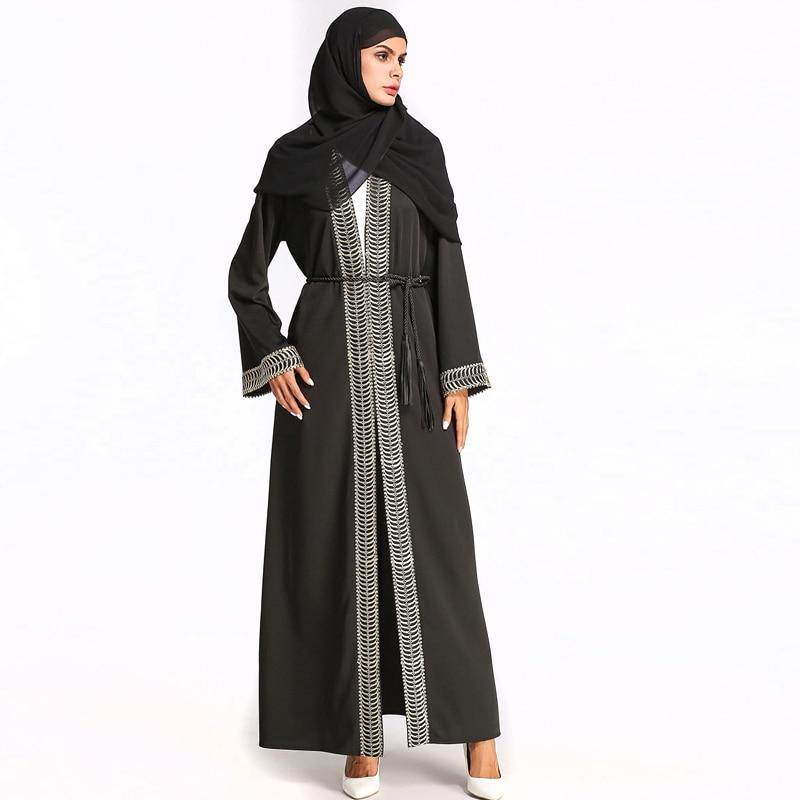 Middle East Muslim Women Fashion O-Neck Long Sleeve Casual Loose Knitted Cardigan Long Dress Ramadan Eid Robe Robe Abaya Burqa women s maxi dress winter abaya striped robes loose style thickening knitted cotton jilbab muslim middle east islamic clothing