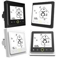 Termostato programable termostato de calefacción de caldera de gas LCD pantalla táctil negro/blanco termorregulador de temperatura ambiente