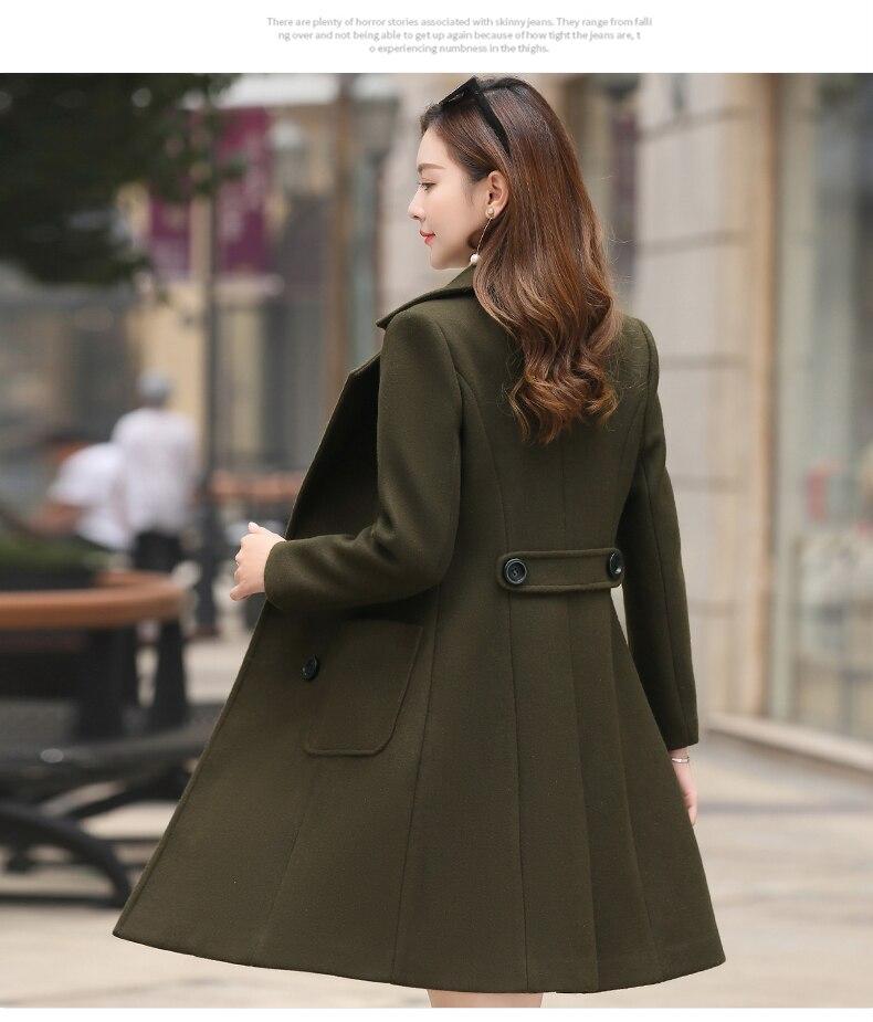 Outerwear Overcoat Autumn Jacket Casual Women New Fashion Long Woolen Coat Single Breasted Slim Type Female Winter Wool Coats 9