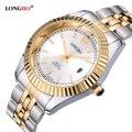 Amantes LONGBO Luxo Casal Relógios Homens Data Dia À Prova D' Água Mulheres Ouro Aço Inoxidável Quartz Relógio de Pulso Montre Homme 80076