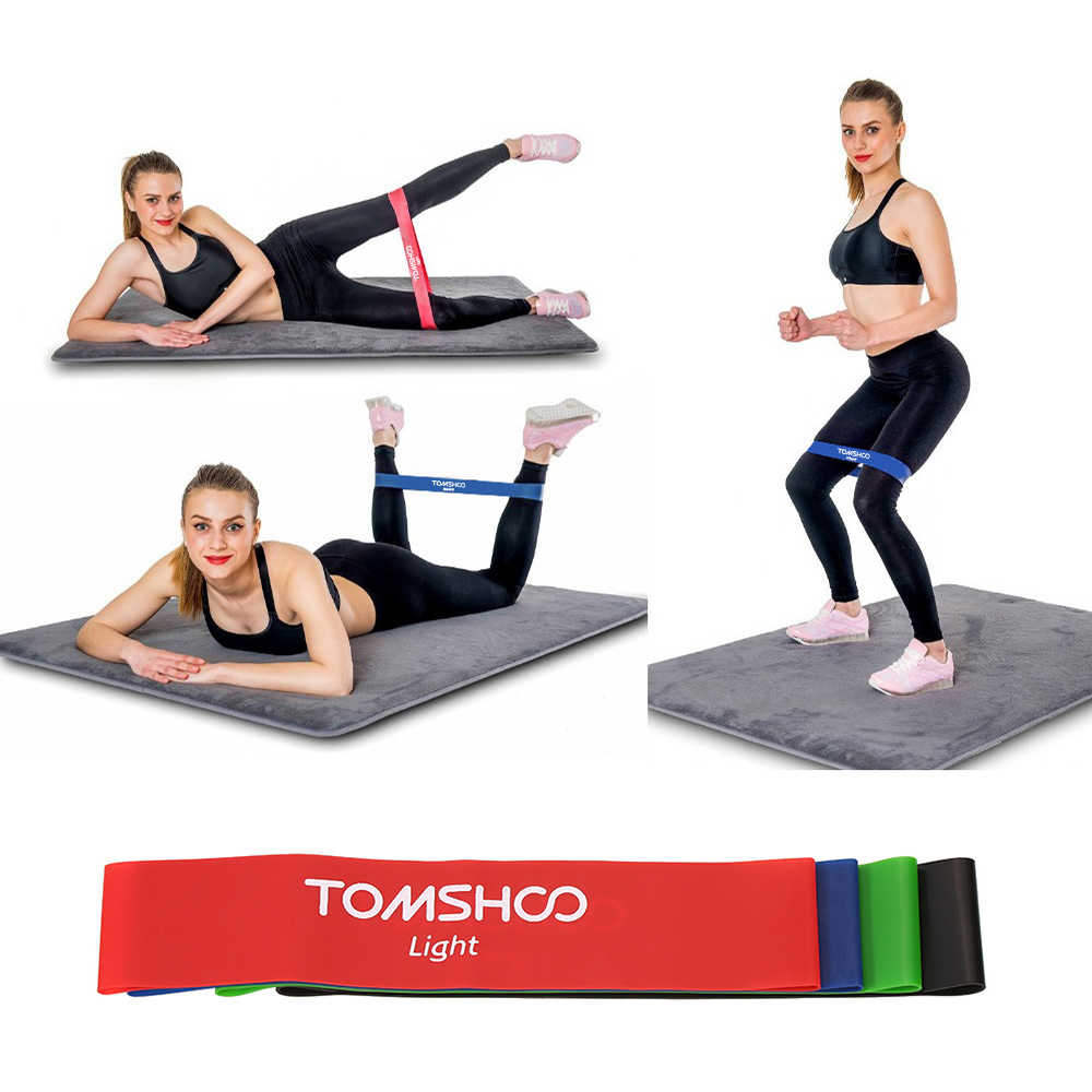 TOMSHOO 4pcs Exercise Fitness Resistance Bands Latex Gym Strength Training Loops Bands Workout Bands Home Fitness Equipment