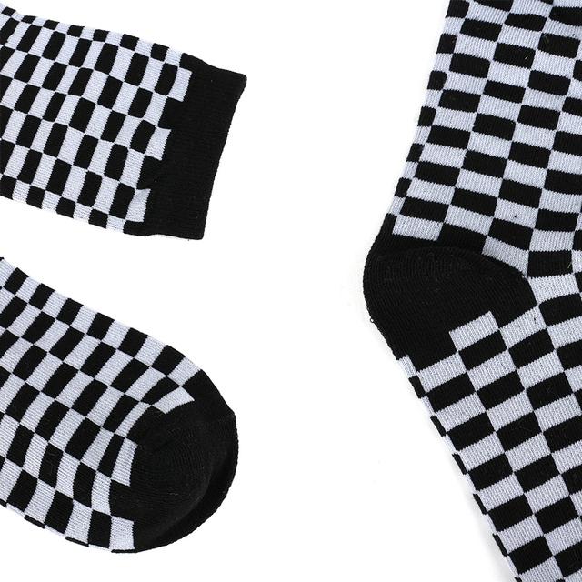Korea Fashion Harajuku Trends Women checkerboard Socks Style Geometric Checkered Socks Men Hip Hop Cotton Unisex Soks Le60921