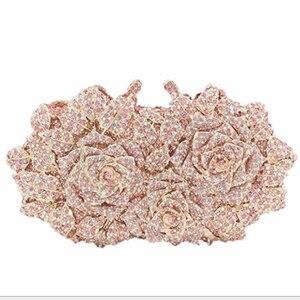 Здесь можно купить  Women Mini Evening Bag Hollow Out rose flower Diamond Green Wedding Clutch Handbag Bridal Hardcase Metal Purse for Bridesmaid  Камера и Сумки