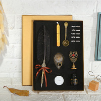 1Set English Calligraphy Feather Dip Pen Writing Ink Set Stationery Gift Box with 5 Nib Fountain Pen Ink