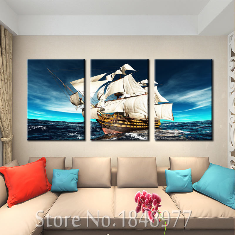 3 panel modern wall art home decoration canvas painting canvas prints sea scenery sailing ship - Home decoration wholesale paint ...