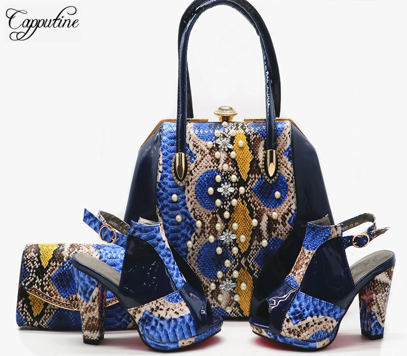 Capputine New Fashion Design Shoes And Bag Set 2018 Italian Style Woman High Heel 10CM Shoes And Bag Set For Party G56