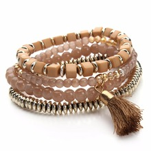 LOULEUR 4 Colors Bohemian Beach Style Candy Color Multilayer Beads Tassel Charm Bracelets Bangles For Women Gift Pulseras Mujer