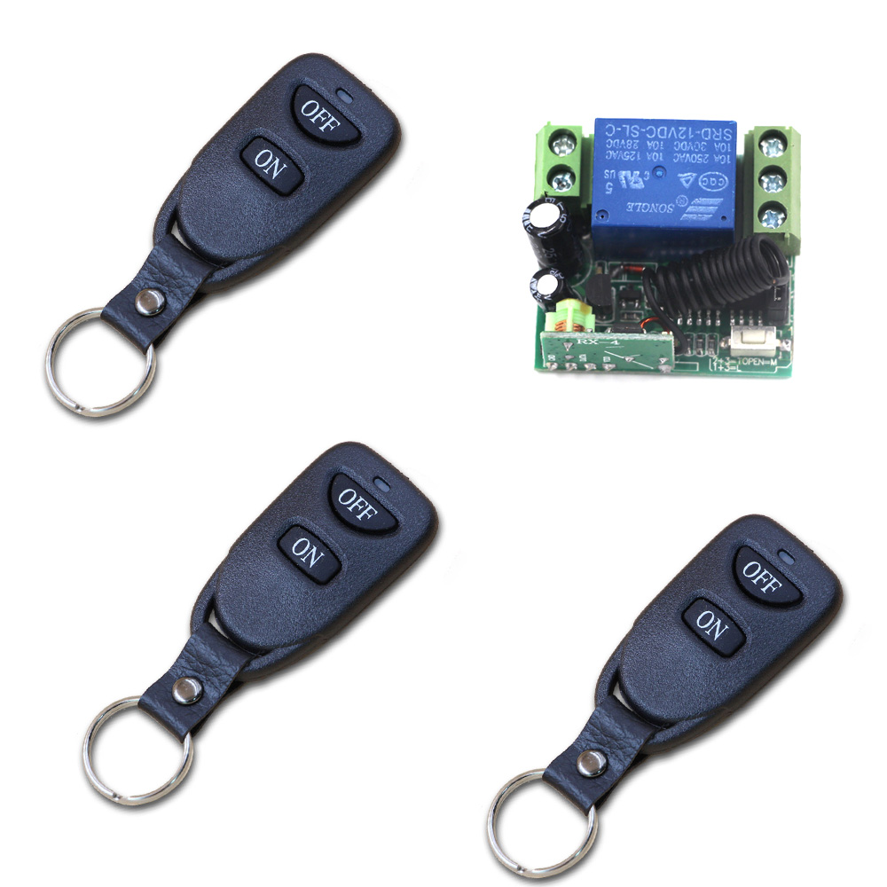 Free Shipping DC12V Mini 1CH Wireless Remote Control Switches 3 Transmitter and Receiver +Case 315/433mhz free shipping dc12v 433mhz metal