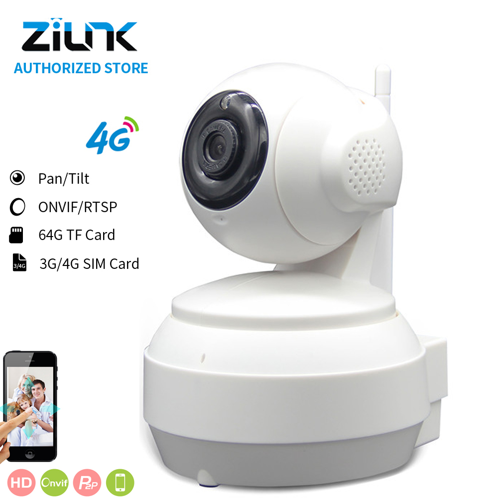 ZILNK 720P 3G/4G SIM Card 1.0Megapixel HD P2P Network PT Wireless IP Camera 2 Way Audio  IR Night Vision TF Card Indoor White
