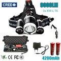 Led Lanterna Tocha 3x XM-L T6 LED Farol 3T6 farol 9000 Lâmpada de Cabeça Lúmen Lanterna Farol para baterias e carregador caixa