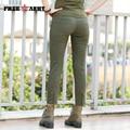Freearmy Marca Nueva Llegada de La Vendimia de Las Mujeres Pantalones Casuales pantalones Flacos Femeninos Pantalones Verdes Del Ejército Militar Envío Gratis GK-9520A