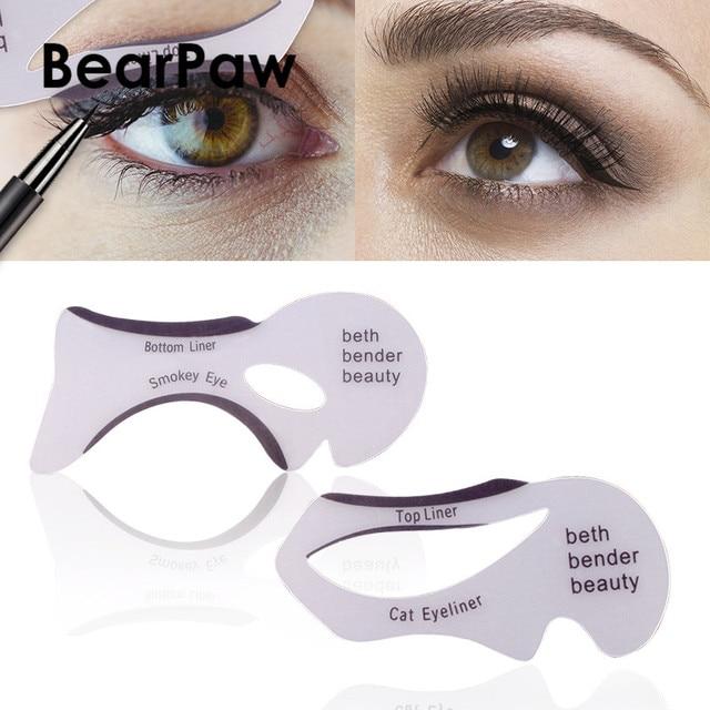 BearPaw 2PCS/Set Eyeliner Stencil Kit Model for Eyebrows Guide Template Shaping Maquiagem Eye Shadow Frames Card Makeup Tools