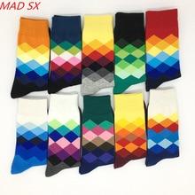 10 pair men Colorful Happy Socks Argyle Three dimensional Tube Geometric Funny Combed Cotton Socks Fashion Designer Style