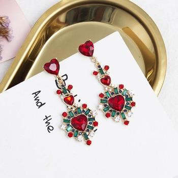 ¡Novedad de 2019! Pendientes coreanos con forma de corazón con cristales de estrás rojos y cristales para mujer 5A2032