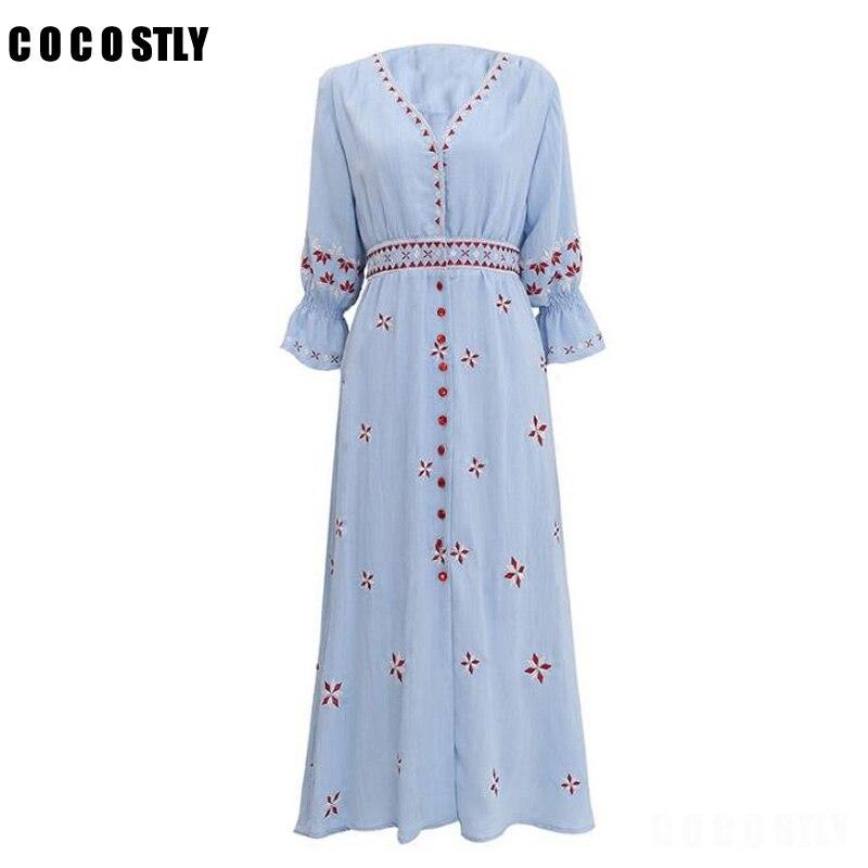 2018 robe d'été sexy femmes bohème boho personnes robe Vintage ethnique Floral brodé longue boho robe Fable robe