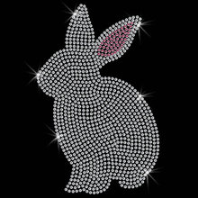 FS(2pc/lot) Cute Bunny Motif Rhinestone Transfer Rhinestone Transfer hot fix rhinestone applique iron on applique patches