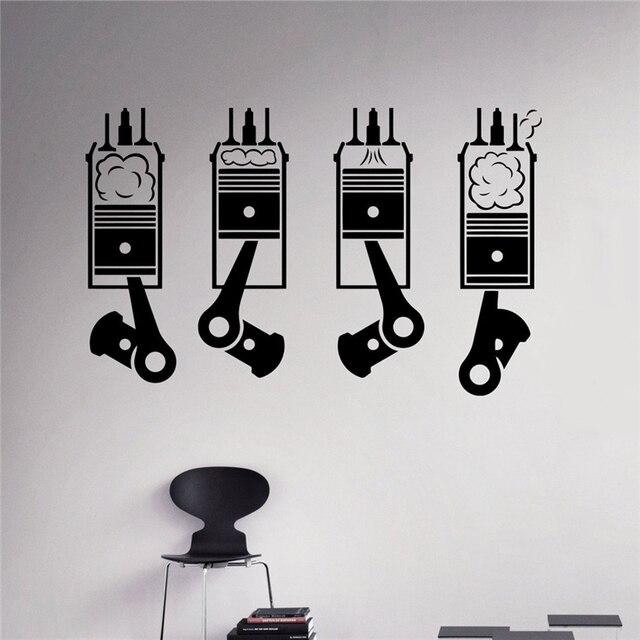 Motor Pistons Wall Sticker Auto Machine Vinyl Sticker Home - Custom vinyl wall decals for garage