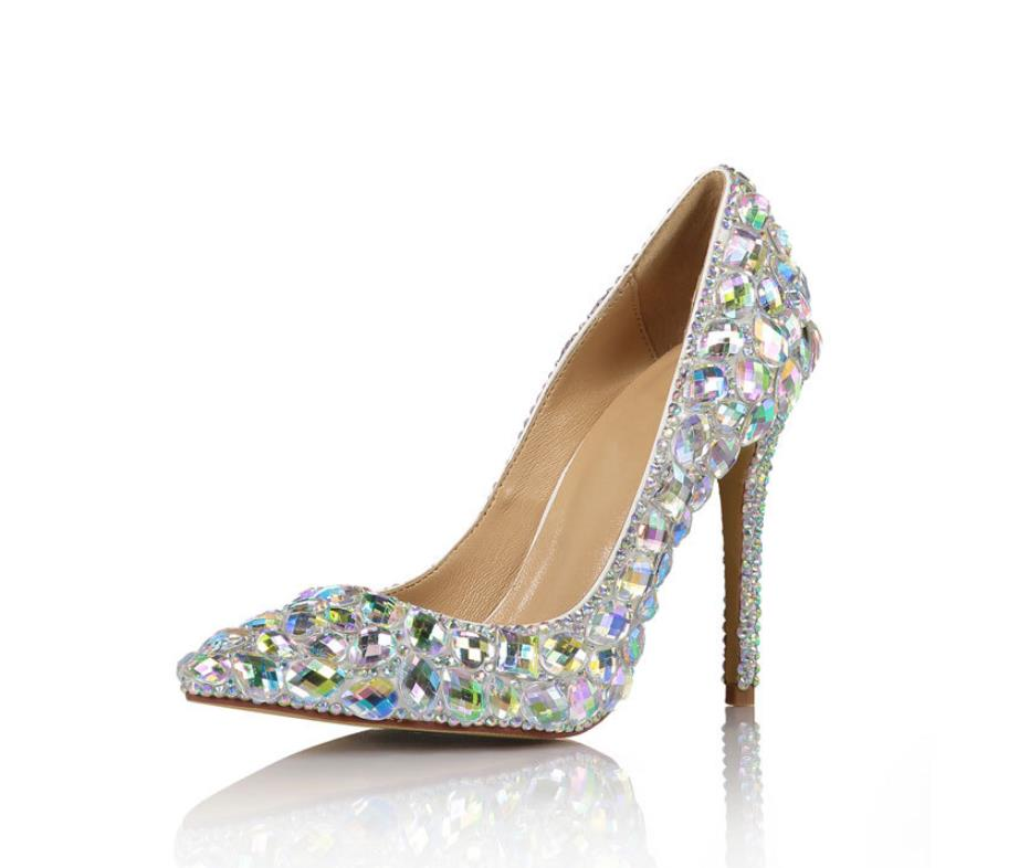 69ea1328a72a Vidrio Tacón Zapatos De Europea Alto Novia Moda Colorido Señaló Sexy  Diamante Pasarela Multiple Americana Y Vestido ITrqwTA0