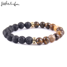 WML Luxury pave black CZ Rims Charm men bracelets lava beads tiger stone bead Bracelets & Bangles for Jewelry