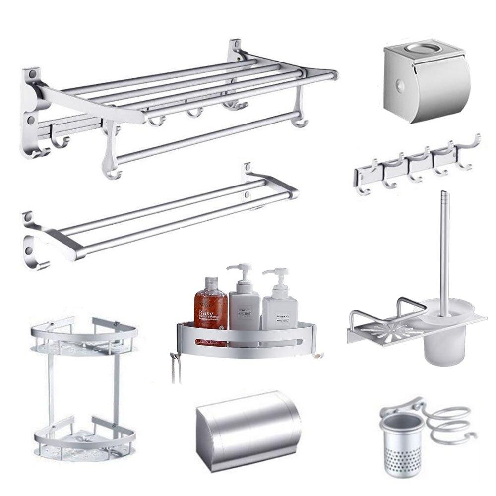 Bathroom hardware accessories set space aluminum double towel bar wall mounted silver towel rack brief bathroom shelf toilet