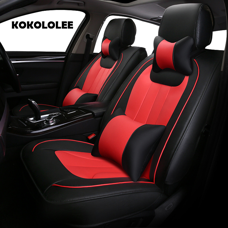 KOKOLOLEE pu leather car seat cover for Toyota Volkswagen Fiat Hyundai Chery BYD car accessories auto styling Automobiles covers universal pu leather car seat covers for toyota corolla camry rav4 auris prius yalis avensis suv auto accessories car sticks