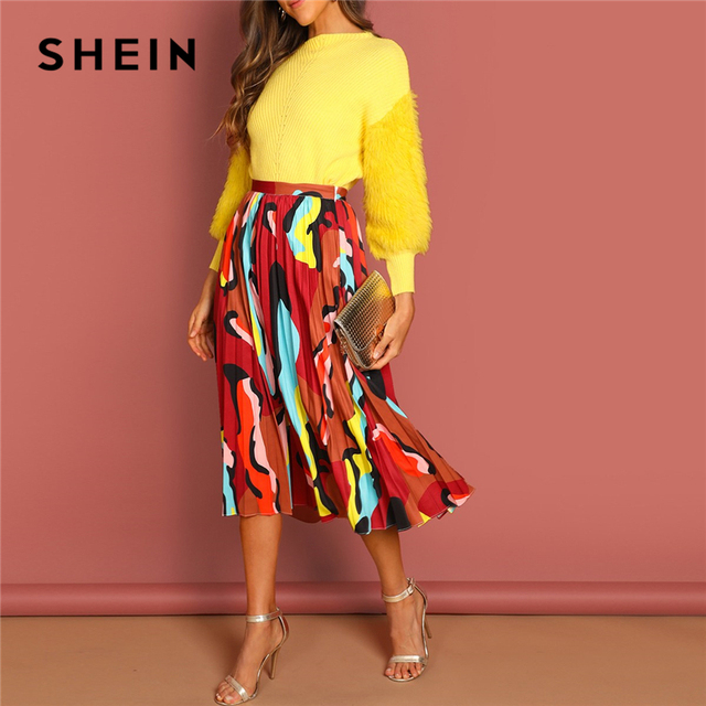 2e77752f52 SHEIN Multicolor Graphic Print Pleated High Waist Straight Long Skirt Women  Autumn 2019 Weekend Casual Shift Skirts