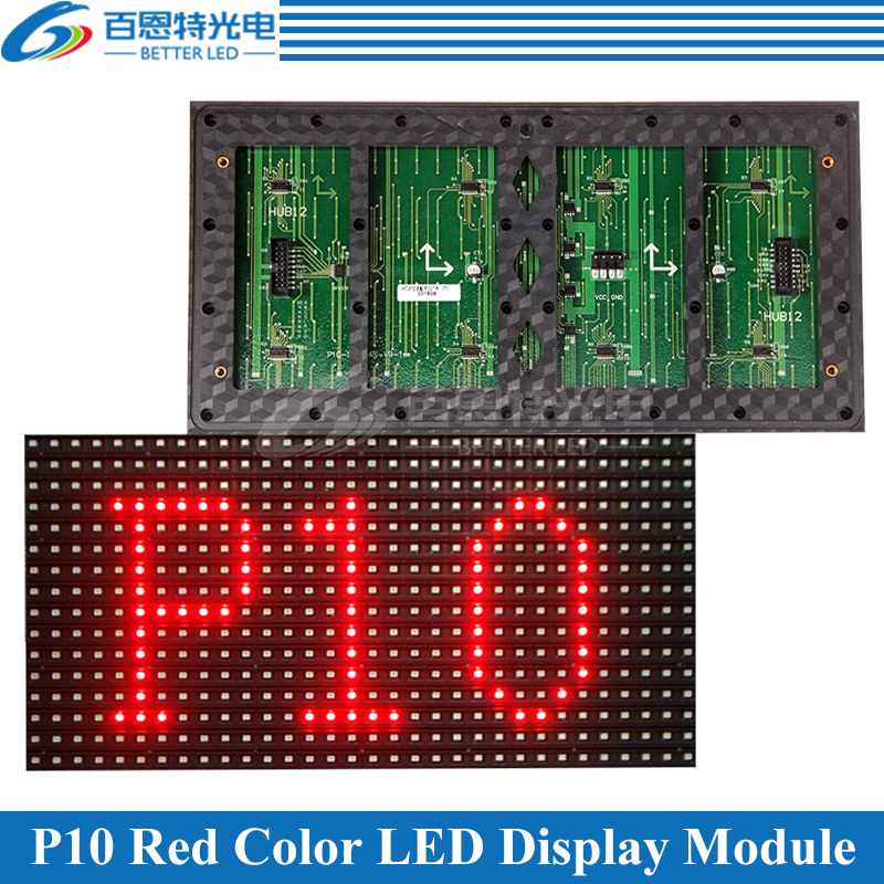 320*160mm 32*16pixels Semi-Outdoor <font><b>SMD</b></font> <font><b>P10</b></font> Red/White Single color <font><b>LED</b></font> display module image