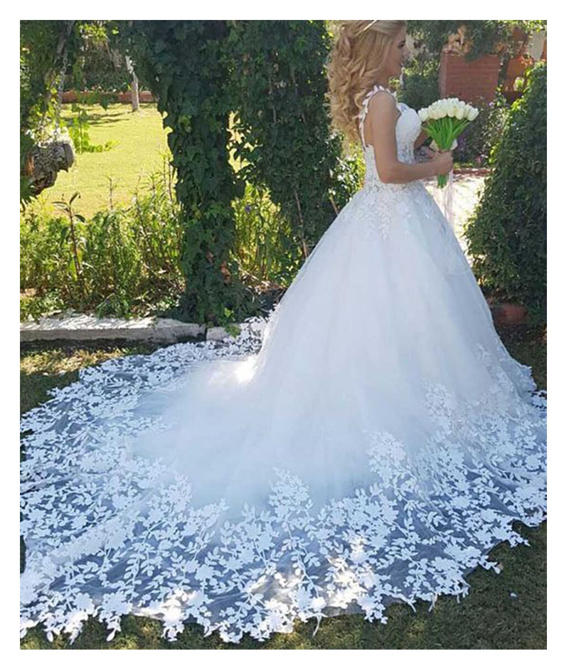 LORIE Sexy 2019 Robe De Soiree  Lace Wedding Dress Sweetheart Ball Gowns Bridal Dress With Train High Quality Wedding Gowns New