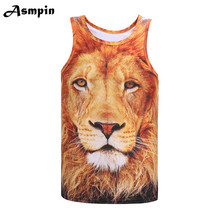 2018 Summer Brand 3D Lion Print Gyms Clothing Fitness Men Tank Top Mens Bodybuilding Stringers workout Singlet Sleeveless Shirt