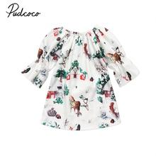 1-6Y christmas kid baby girl dress autumn long sleeves deer snow print girls xmas clothes ruffle princess