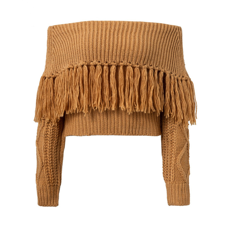 2019 hot style solid tassel short sweater woman spring autumn fashion pullover slash neck casual female sweater in Pullovers from Women 39 s Clothing