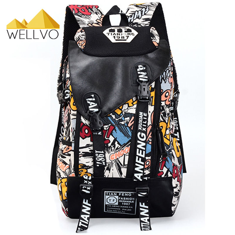 Graffiti Laptop Backpack Men Canvas School Bag Teenage Boys Large Cartoon Letters Printing Backpacks Travel Bags mochila XA1788C comics anime batman backpack large capacity leather school bags cartoon animation hero bat men men travel bag mochila escolar