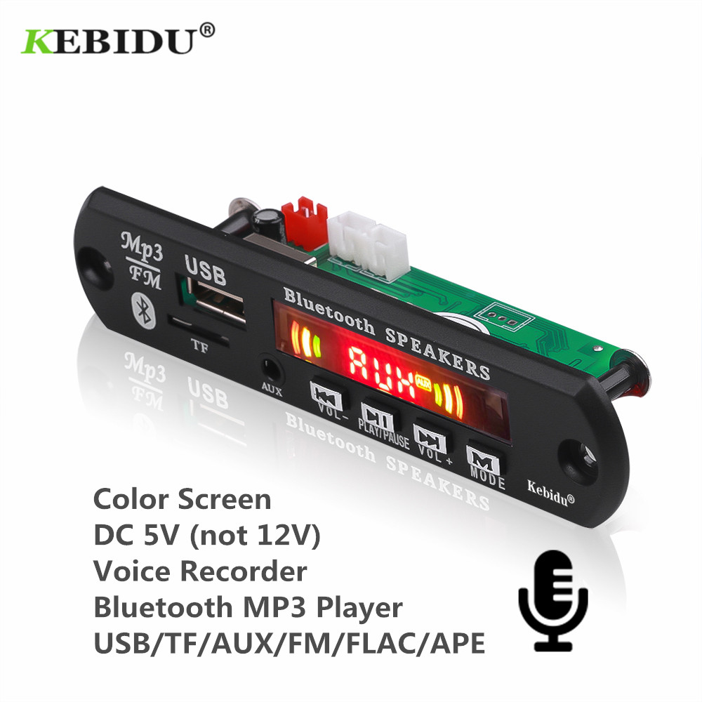 KEBIDU 5V Bluetooth MP3 Player Decoder Board  Color Screen for Car Kit FM Radio TF USB 3.5mm AUX Audio Module Record Hands free-in HiFi Players from Consumer Electronics