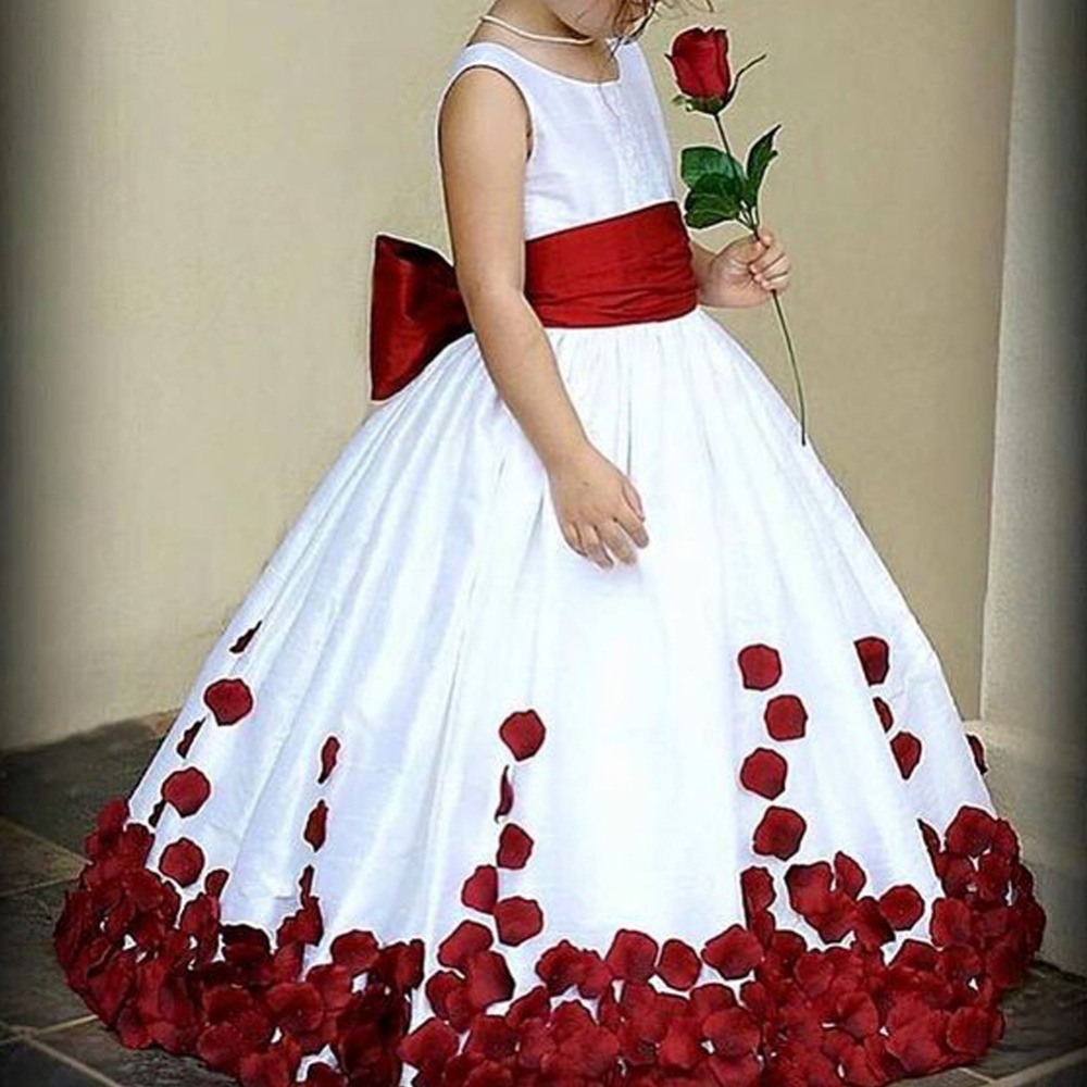 2018 New Vintage Kids Girls Flower Dress Petals Gown Bridesmaid Wedding Graduation Party Princess Dress Kid Dress for Girl 4-13Y