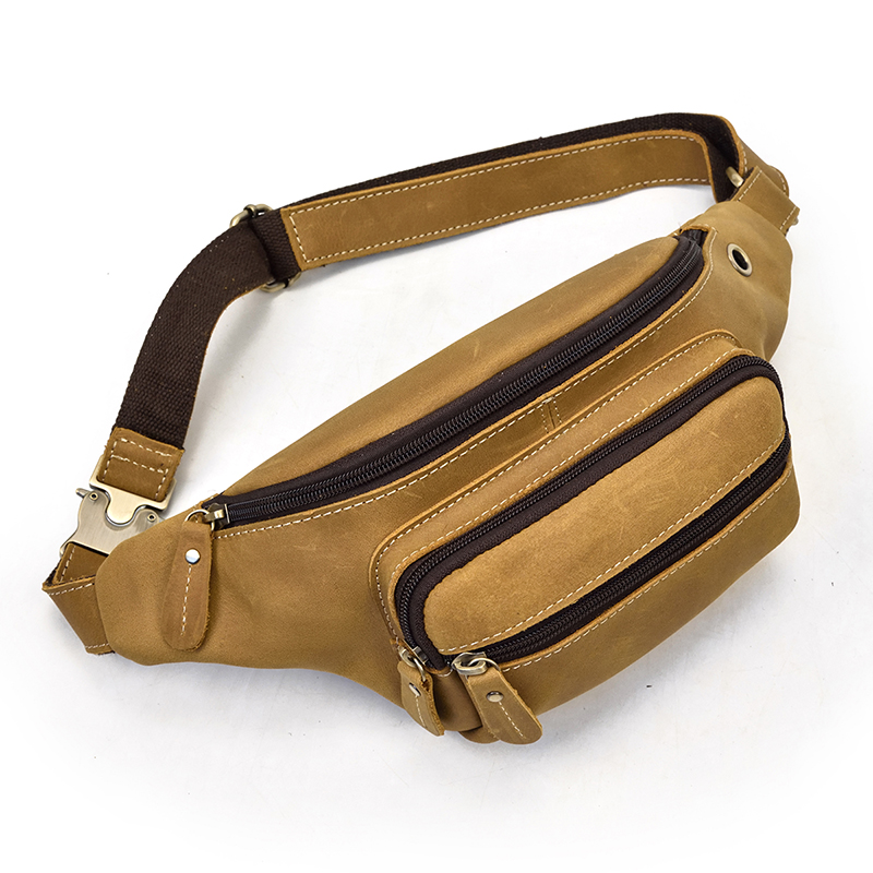 Genuine Leather Men waist Packs Fanny Pack Belt Bag Phone Pouch Mini Travel bag Chest Bag