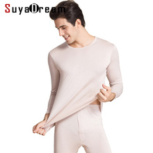 Men Long Johns 70%Natural Silk 30%Cotton Round neck Thermal
