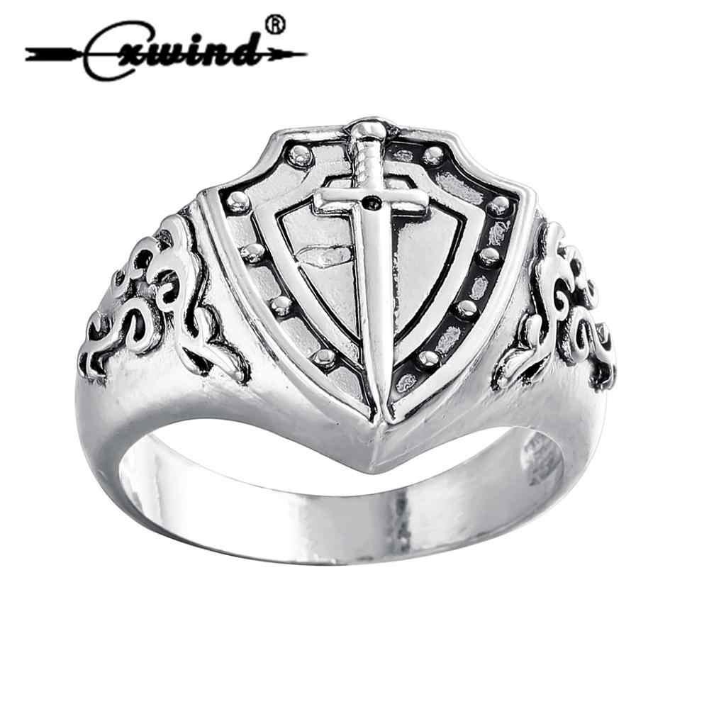 Cxwind Tom Anel dos homens Do Vintage Cruz Medieval Escudo Espada Forma Anéis para As Mulheres Homens Esfriar Runas Fechado Dedo Jóias