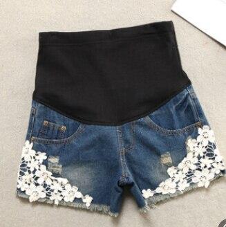 Летние Короткие джинсы для беременных; повседневные шорты для беременных; одежда с регулируемой талией; простые тонкие женские брюки для ухода за животом - Цвет: blue 2
