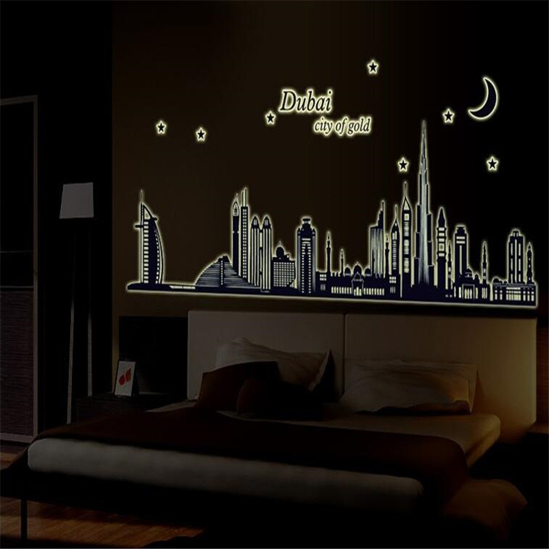 Dubai Silhouette Luminous Paste Fluorescent Stickers Living Room Background Wall Decorative Effects ABQ9616China