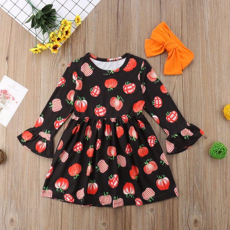 Autumn Long Sleeve Halloween Pumpkin Party Wedding Tutu Dresses Cotton Girl Clothing Toddler Princess KIds Baby Girls Dress