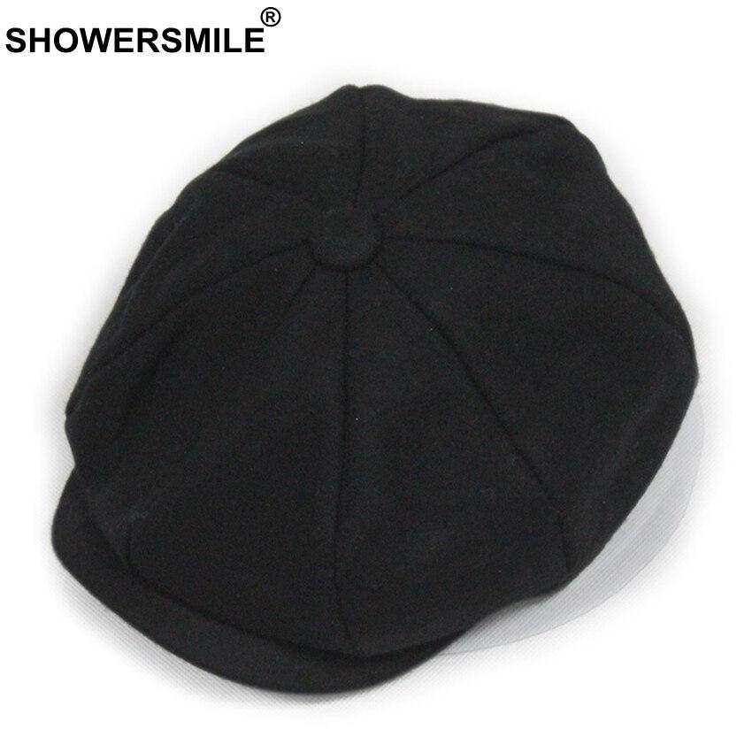 02c7da028d2 Dropwow SHOWERSMILE Black Grey Wool Hat Man Newsboy Caps Herringbone Tweed  Warm Winter Octagonal Hat Male Female Gatsby Retro Flat Caps