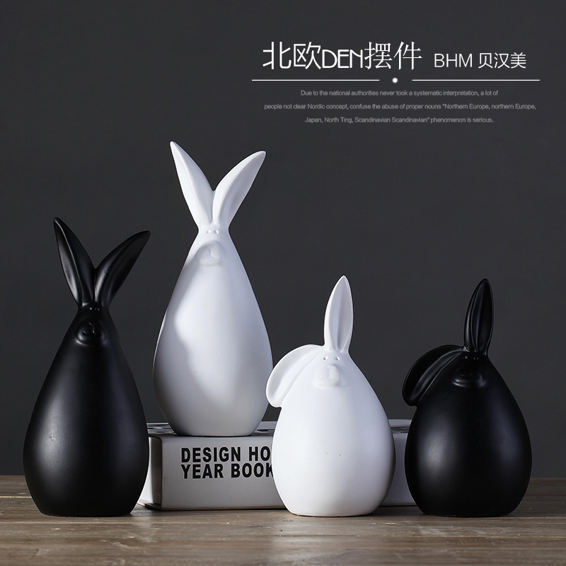 En céramique noir blanc lapin home decor salle d'artisanat décoration Bunnie artisanat ornement porcelaine animaux figurine décoration