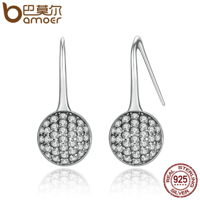 Sterling Silver Round Dazzling Droplets Earrings