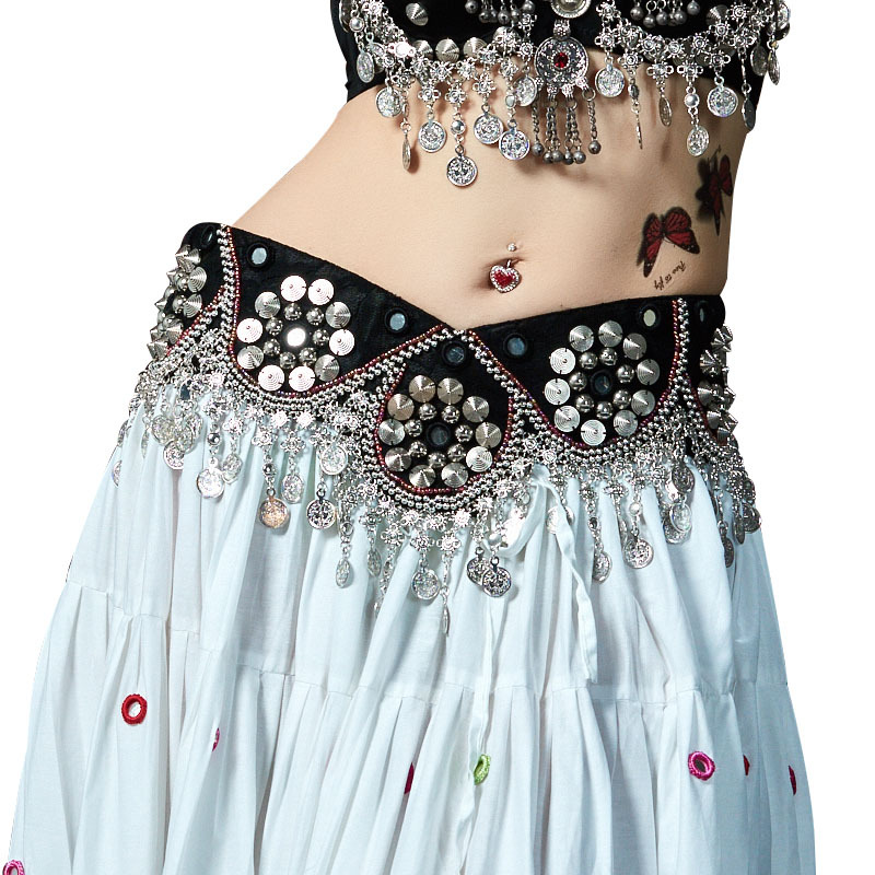 Professional Tribal Belly Dance Waist Hip Scarf Adjustable Fit Antique Bronze Beads Metal Coins Chain Belt With Magic Sticker